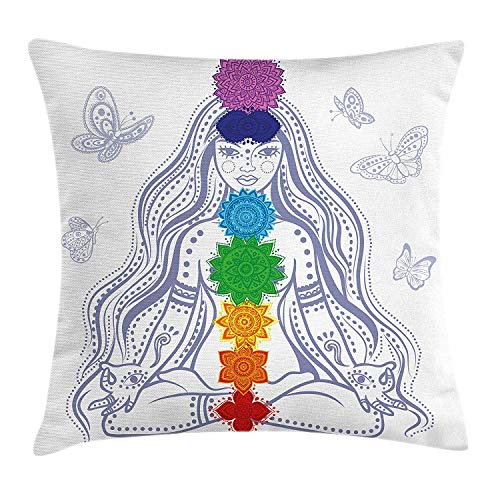 fjfjfdjk Spiritual Girl in Lotus with Colorful Chakra Stones Yoga Meditation Relax Zen ThemeChakra Decor Throw Pillow Cushion Cover Decorative Square Accent Pillow Case 18 X 18 Inches Multi