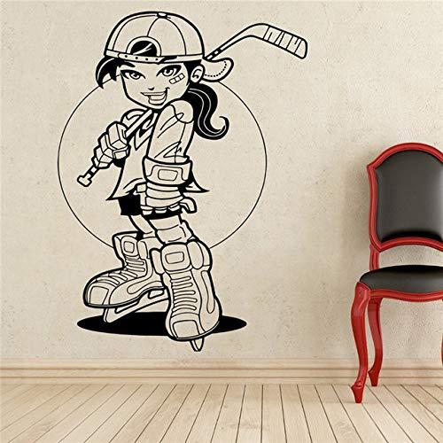 Guijiumai giocatore di hockey decalcomania da muro sport vinile adesivo decorazione da parete adesivo murale impermeabile rimovibile bianco 69 x 100 cm