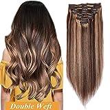 Extension Clip Humain [Gros Volume] 12'/30CM 8 Bandes à 18 Clips Extensions Cheveux...