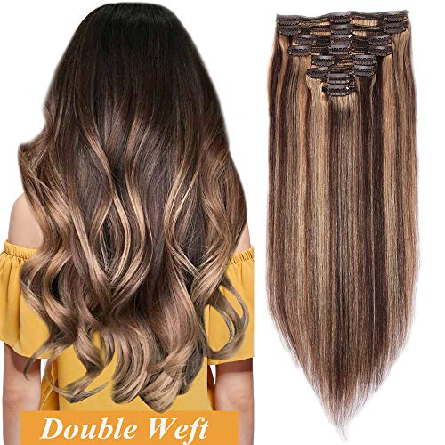 Extensiones Cabello Natural Clip Double WeftMuy Gruesas