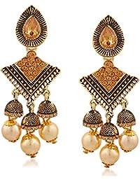 Meenaz Jewellery Traditional Gold Plated Kundan Crystal Chandbali Jhumka Jhumki Earrings For Women-174