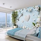 murando - Fototapete 300x210 cm - Vlies Tapete - Moderne Wanddeko - Design Tapete - Wandtapete - Wand Dekoration - Blumen Herz romantisch Schlüssel f-A-0182-a-a