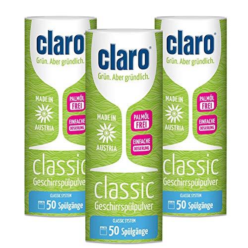 3x claro Öko Classic Geschirrspülpulver in 900g Dose - Ideal zum Dosieren Biologisch abbaubar