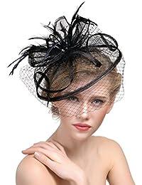 donne ragazze fascinator cappello elegante piuma Hairpin in tulle con  copricapo da sposa piuma capelli clip accessori… c602feb40d34