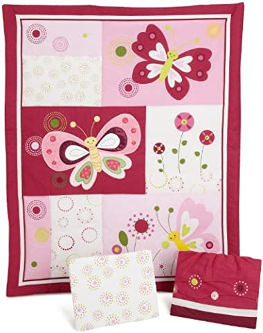 Lambs & Ivy Bedtime Originals Pink Butterfly Bedding Set (Pack of 3 Piece)