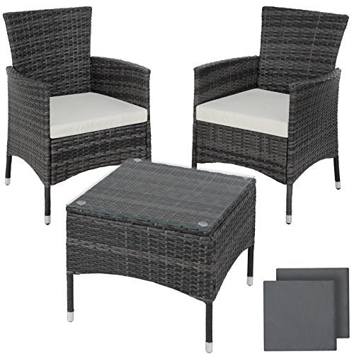 SSITG Steel Poly Rattan Garden Furniture Dining Set Grey