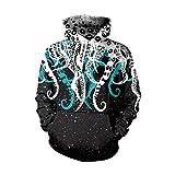 Tookang Unisex Große Größe Kapuzen Sweatshirt Octopus Digitaldruck Hoodie Langarm Lose Pullover