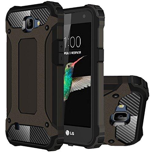 LG K4 Hülle, HICASER Hybrid Dual Layer Rugged Heavy Duty Defender Case [Shock Proof] Drop Resistance TPU +PC Handytasche Schutzhülle für LG K4 Braun