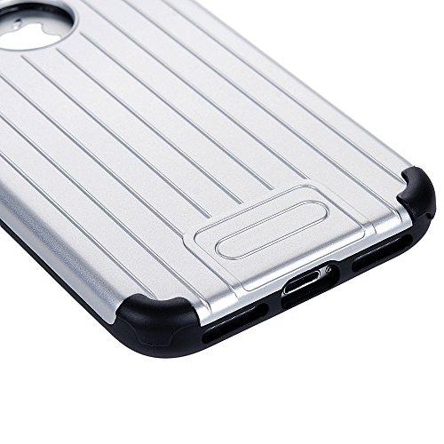 Mavis's Diary iPhone 7(4,7 Zoll) Case Grau Stamm Muster Design 2in1 (PC Outside + TPU Inside) Dual Protective Handycase Hüllen Schutzhülle Back Cover Scratch Telefon-Kasten Handyhülle Handycover + 1x  Silber