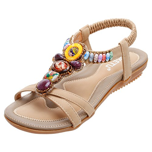 Jeweled Damen Jeans (Zoerea Damen Sandalen Böhmen Flache Sommersandalen PU Leder Zehentrenner Flip Flops(Beige, EU 42, Herstellergrösse 43))