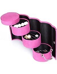 Glive's 3 Layer Round Jewelry Cosmetic Case Storage Box Organizer