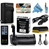 Multi Power Battery Grip + Ultra High Capacity LP-E6 LPE6 Replacement Battery (2800mAh) + Replacement AC/DC Rapid Battery Charger With Car & European Adapter + Wireless Shutter Release Remote Control For Prints + Lens Cleaning Kit For Canon EOS 6D DSL