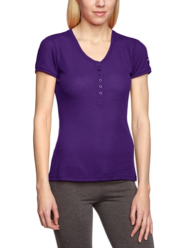 Super.natural en laine mérinos pour femme courtes henley 165 w Violet - Violet
