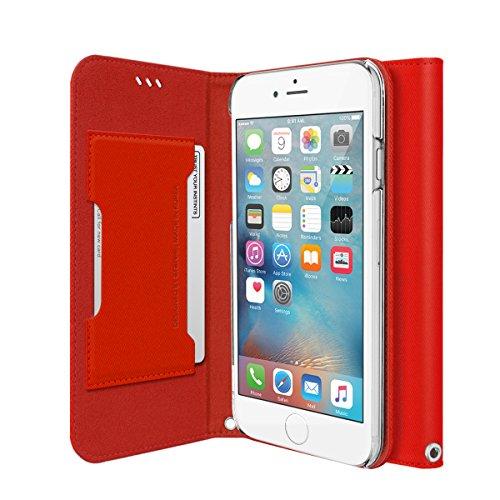 iPhone Case 6S, iPhone 6 Wallet, araree® [Canvas Diary] ITALIEN Housse en cuir haut de gamme Inoffensif Meterial Flip Cover avec porte-cartes de crédit pour iPhone 6S Wallet (2015) (RED)