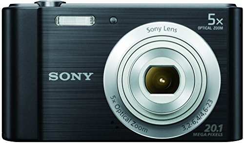 Sony DSC-W800 20.1 MP Point and Shoot Digital Camera with 5x Optical Zoom (Black) + Memory Card + Camera Case