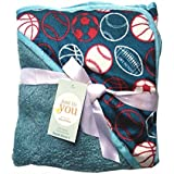 N&M Double Layer Velvet Fleece Newborn Printed Baby Blanket With Hood (DarkBlue Ball)