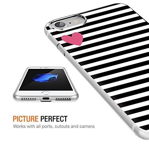 Coque iPhone 8, Coque iPhone 7, Eouine Coque Motif Transparent, Ultra Slim Housse Etui de Protection Anti choc Gel TPU Silicone Bumper Case Cover pour Apple iPhone 7 (2016) / iPhone 8 (2017) 4.7-inch  Stripe noir