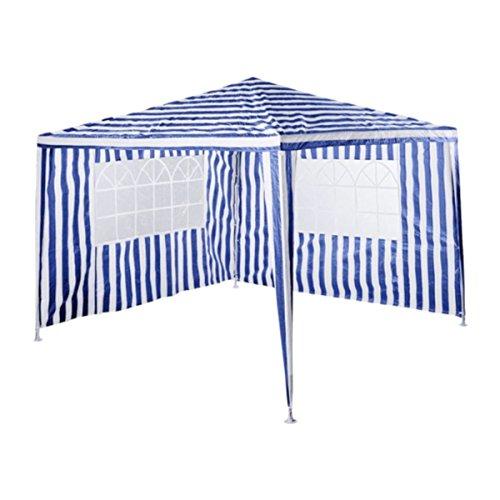 silvertree Pavillon Set Mika | 3 x 3 m | 2 Seitenteile | blau/Weiss Streifen | Partyzelt | Gartenzelt | Festzelt | Camping | Höhe ca. 260 cm