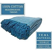 100% algodón tejido Herringbone silla, sofá cama, manta y manta (azul turquesa