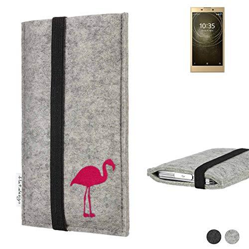 Flat.designHandy Hülle Coimbra für Sony Xperia L2 Dual-SIM Made in Germany Handytasche Filz Tasche Case fair Flamingo pink