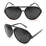 2er SET Rasterbrille / Lochbrille für Augentraining zur Entspannung, Gitterbrille mit faltbaren Bügeln, Form C, Farbe: Schwarz - Marke Ganzoo