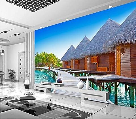 Sykdybz 3D-Wandbilder Tapeten Für Wohnzimmer Malediven Inseln Landschaft Meer Haus Custom 3D