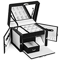 SONGMICS Jewellery Box, Lockable Portable Travel Case, with Inside Mirror, Watch Pillow, Side Doors, Necklace Hooks, Thickened Frame, Gift for Loved Ones, Black JBC236BK