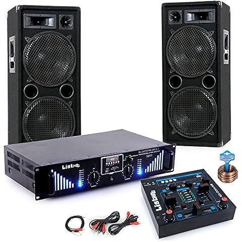 3000W PA Party Musik Anlage Boxen MP3 USB SD Endstufe Mixer DJ-Blue 3