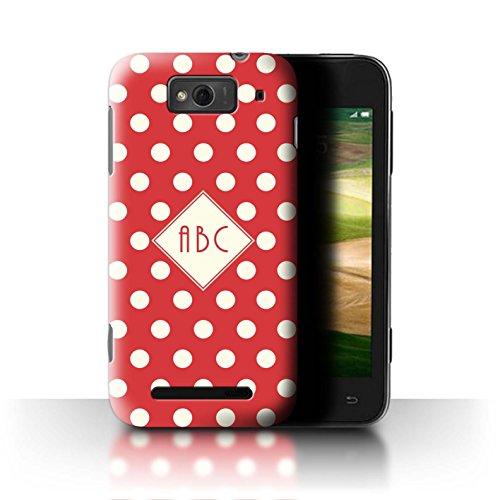 Stuff4® Personalisiert Individuell Tupfen Polka Hülle für Xiaomi Mi 1S / Rot Design/Initiale/Name/Text Schutzhülle/Case/Etui (Red Mi 1s Handy)