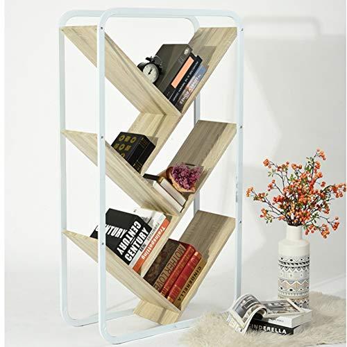 Bakaji home libreria scaffale 5 ripiani obliqui in legno design moderno per soggiorno salotto casa o ufficio dimensione 144 x 80 x 33 cm (faggio)