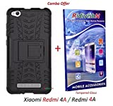 Ridivishn (Combo Offer) For Xiaomi Redmi 4A / Redmi 4A / Mi Redmi 4A Back Cover Case (Black) + Premium Tempered Glass Screen Protector,Transparent