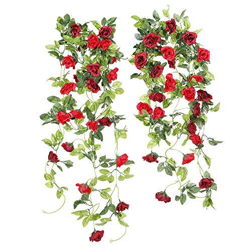 JUSTOYOU Künstliche Rose Garland Hängende Girlande Dekoration (Rot)