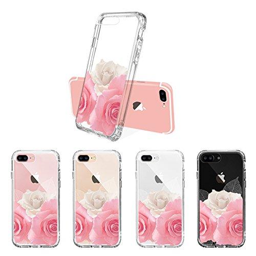 iPhone 8 Plus Hülle, iPhone 7 Plus Hülle, MOSNOVO Tropisch Kaktus Muster TPU Bumper mit Hart Plastik Hülle Durchsichtig Schutzhülle Transparent für iPhone 7 Plus / iPhone 8 Plus (Kaktus) Roses