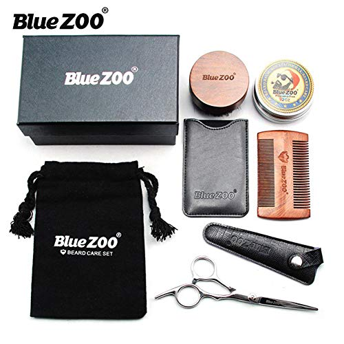 Ensembles de soin de barbe 8PCS, peigne/ciseaux/sac de pinceau en bois de santal noir d'or pour hommes, kit de toilettage de barbe de crème de 60g