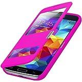 Flip Cover Tasche Samsung Galaxy S5 G900 / S5 Neo SM-G903F Schutz Hülle Case Pink + mit Sichtfenster + annehmen der anrufe ohne öffne des Covers + Folie