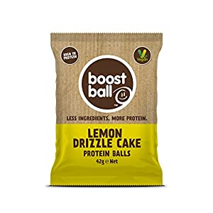 Bootsball Proteinbälle Lemon Drizzle Cake – Vegane Proteinkugel (Behälter mit 12 x 42 g Packungen)