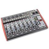 Power Dynamics PDM-L905 Profi Studio Bühnen Mixer 9-Kanal-Mischpult (USB, AUX, 5x XLR, +48V, MP3-und Effektsektion) rot-schwarz
