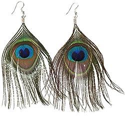 TOOGOO(R) Aretes de gota de pluma de pavo real natural larga de diamante de imitacion estilo bohemio de moda para mujer