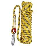 Aoneky sicheres, strapazierfähiges, langlebiges Kletterseil fürs Felsklettern, für Indoor/Outdoor, Rettung bei Feuer, Statikarbeiten, Gelb 1, 98.4feet, 10mm