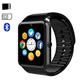 Bluetooth Smartwatch Smart Andriod Wrist Watch with Camera, Music Player, Sim/TF Card Slot Remote Control Anti-lost Touch Screen, Pedometer, Notifications Calls, SMS, for Android Smartphones iPhone Huawei Samsung ECC GT08 black