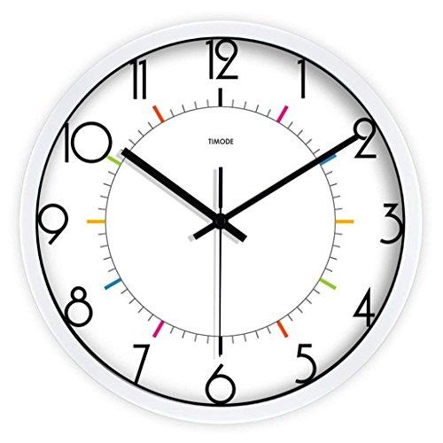 H&S Wanduhr der Modernen industriellen Schlafzimmer Lounge Aktivmodus Silent Wecker Tabelle Kreative Ausgesetzt Wecker Uhren Minimalistischen (Farbe Weiß Größe: 12 Zoll) (Beschichtete Metall-tabellen)