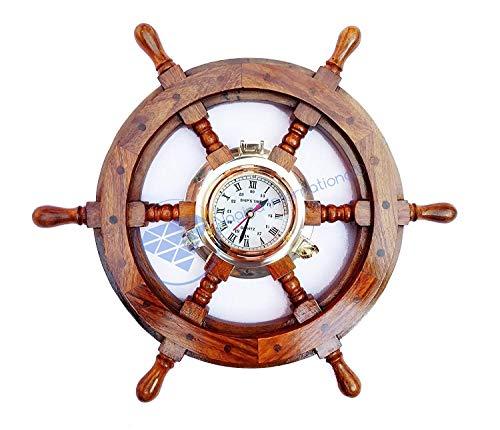 Nagina International Wood Crafted Nautical Solid Brass Porthole Time Clock Pirate Ship Wheel - Captain Maritime Beach Home Decor Gift (48 inches) (Brass Porthole Clock)