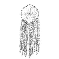Soledi Christmas Attrape sueños de Atrapasueños Dream Catcher Silver Circular Net con plumas pared coche de techo decoración adorno artesanía