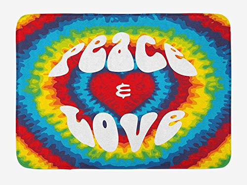 Icndpshorts 70s Party Bath Mat, Peace and Love Groovy Sixties Tie Dye Heart Shaped Abstract Hippie Rainbow Art, Plush Bathroom Decor Mat with Non Slip Backing, 23.6 x 15.7 Inches, Multicolor Tie-dye-slip