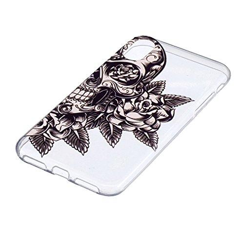 """Hülle für Apple iPhone X , IJIA Transparent Rosenblume TPU Weich Silikon Stoßkasten Cover Handyhülle Schutzhülle Handytasche Schale Case Tasche für Apple iPhone X (5.8"""") YB43"""