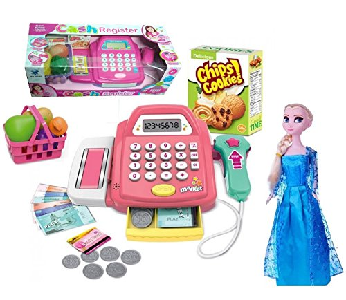 HALO NATION® Super market Cash Register with Real Calculator , Bar code Scanner, Credit card Reader, Grocery & Super Cool FROZEN DOLL  available at amazon for Rs.1099