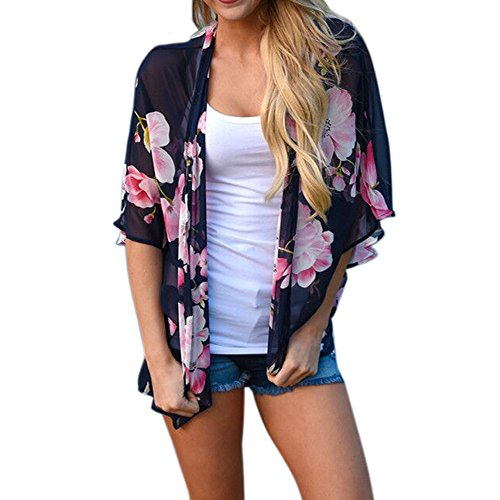 Tops für Frauen lmmvp Frauen Floral Print Chiffon Lose Cardigan Top Cover Bluse (Sleeve Cover Short)