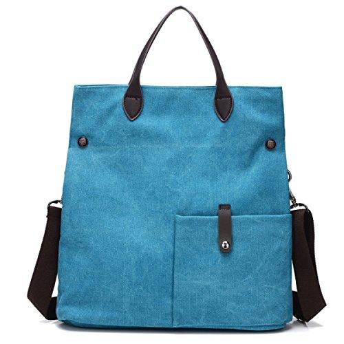 FZHLY Spalla Delle Signore Della Tela Di Canapa Multifunzionale Messenger Grande Capacità Retrà Trendy Handbags,Brown LakeBlue