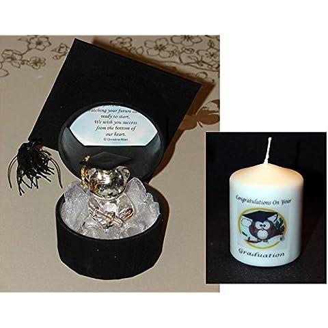 Scatola regalo di laurea cappello vetro Teddy + foc Graduation Mini Candela