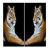 Homyl 2er-Set Tiere Vorhang Schal Verdunkelungsvorhang BLICKDICHT für Wohnzimmer Schlafzimmer, Auswahl - Gelber Tiger